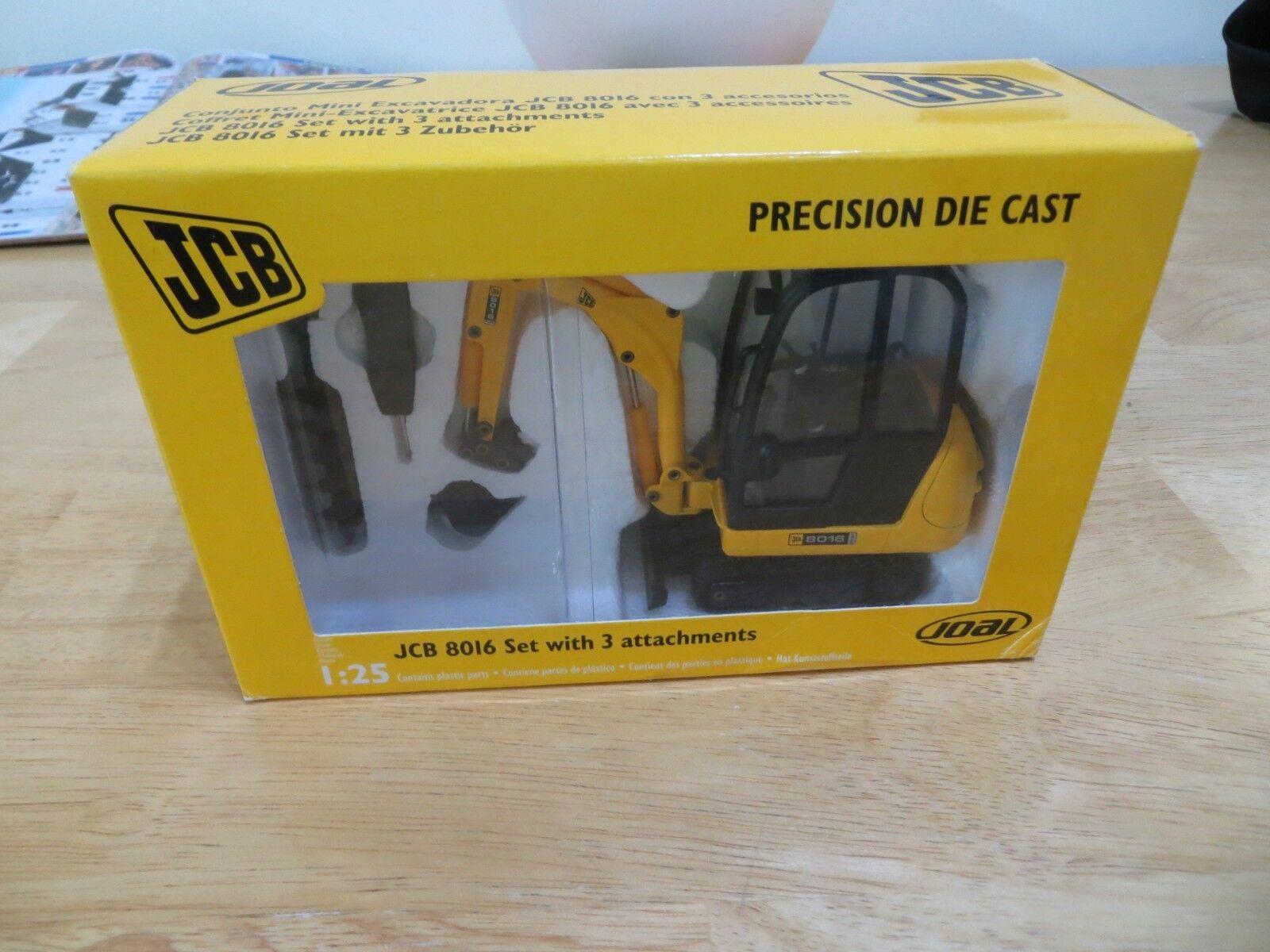JOAL JCB 8016 Avec Pièces Jointes pelle JCB Diecast modèle JCB Excavatrice 1 25