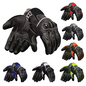 Oro-Biker-Motorbike-Motorcycle-Gloves-Leather-amp-Summer-Mesh-Touch-Screen-Gloves