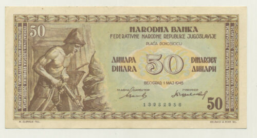 Yugoslavia 50 Dinara 1-5-1946 Pick 64 XF- Circulated Banknote Ref 958