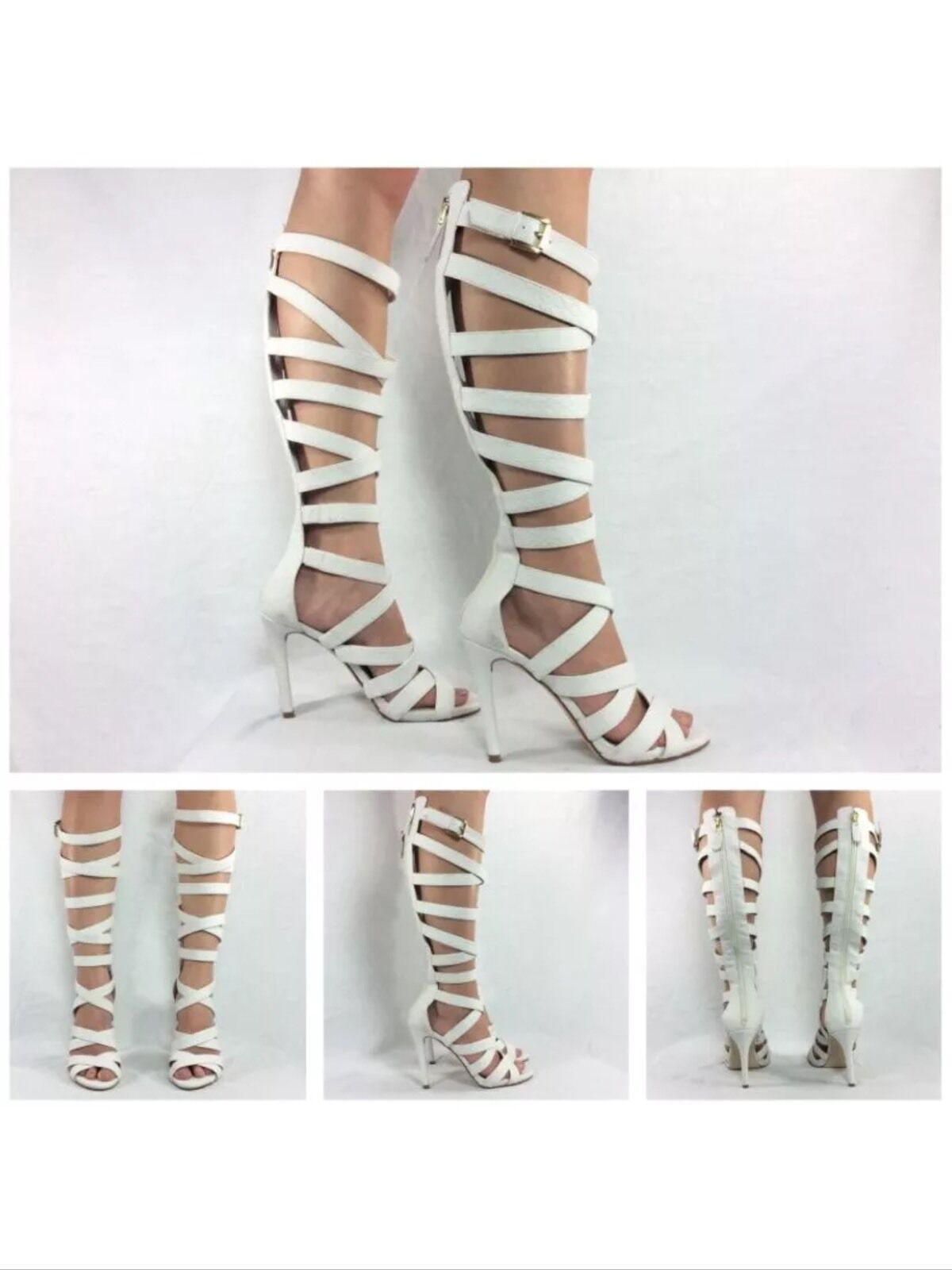 Guess Nwb Chrina White Snake Print Strappy Knee High tall Gladiator sandals heel