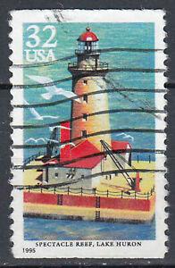Estados unidos sello con sello 32c faro spectacle Reef Lake Huron 1995/3747