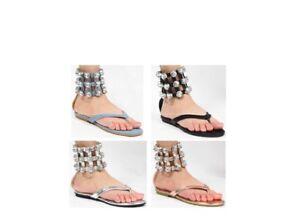 846255c85dca0 Jeweled Rhinestone Cuff Ankle Strap Gladiator Flat Sandal Shoe Thong Open  Toe US