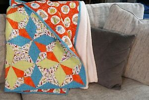 Handmade-Baby-Quilt-Kite-Design-48-034-x48-034-in-blue-green-and-orange