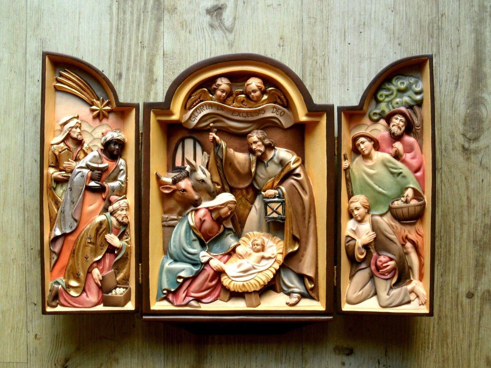 Geschnitztes Krippenbild, Weihnachtskrippe, Wandbild, Holz, Nativity woodcarving