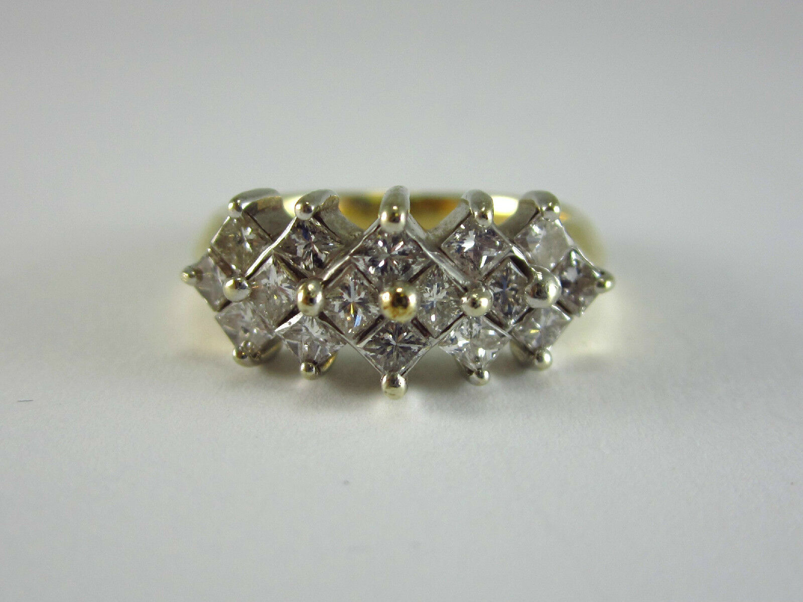 BEAUTIFUL LADIES 14K YELLOW gold PRINCESS CUT DIAMOND CLUSTER RING 5.2G