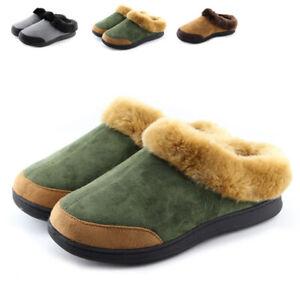 Men-039-s-Winter-Suede-Fur-Lined-Warm-Slippers-Indoor-Outdoor-Casual-Cotton-Shoes