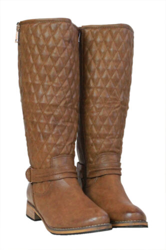 Womens Knee High Mid Heel Ladies Gold Buckle Riding Long PU Leather Biker Boots