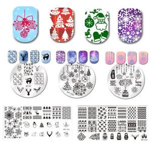 Nail Stamping Plates Christmas Templates Deer Xmas Bell Snowflake