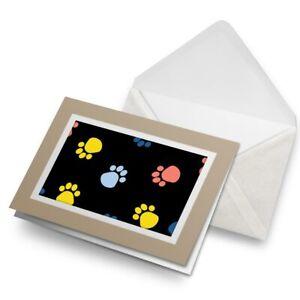 Greetings-Card-Biege-Animal-Paw-Prints-Dog-Cat-Vet-Colourful-15517