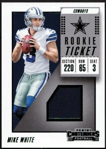official photos e2517 4877d Details about 2018 Panini Contenders Rookie Jersey MIKE WHITE Ticket Swatch  RC - COWBOYS