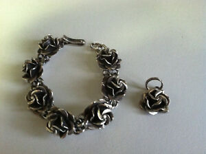 Sterling-Silver-925-Mexico-Rose-Bracelet-and-Pendant-6-034