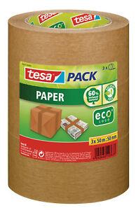 tesa-Packband-Klebeband-eco-Paketband-Kleberolle-aus-Papier-3er-Pack-OVP-Neu
