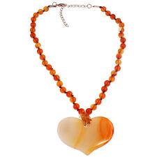 Semi precious agate stone bead large heart pendant choker necklace