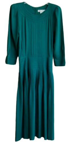 Marie St. Claire SZ 10 Green Dress Buttons Back Zi