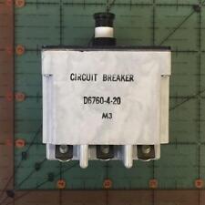 Klixon Circuit Breaker D6760-4-20 20 Amps 6760 Aircraft NOS