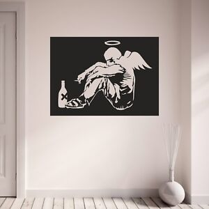 Banksy wall decal fallen angel michael halo wings bedroom for Angel wings wall decoration uk