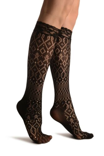 SO002967 Rombs and Diamonds Mix Black Lace Knee High Socks