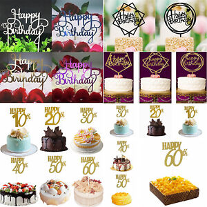 Creative-Gold-Silver-Cake-Topper-034-Happy-Birthday-034-10th-60th-Party-Supplies-Decor