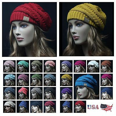 CC BEANIE Slouch Bubble Knit Cap Oversize Caps Baggy Ski Winter Men Women Hat