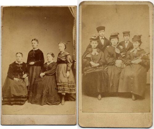 WOMEN WITH BOOTS SISTERS CAMPBELL PHILADELPHIA VINTAGE CDV SET OF 2