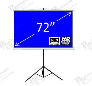 New-72-034-Portable-Tripod-Projection-Screen-home-cinema-Projector-Matt-Grey-16-9