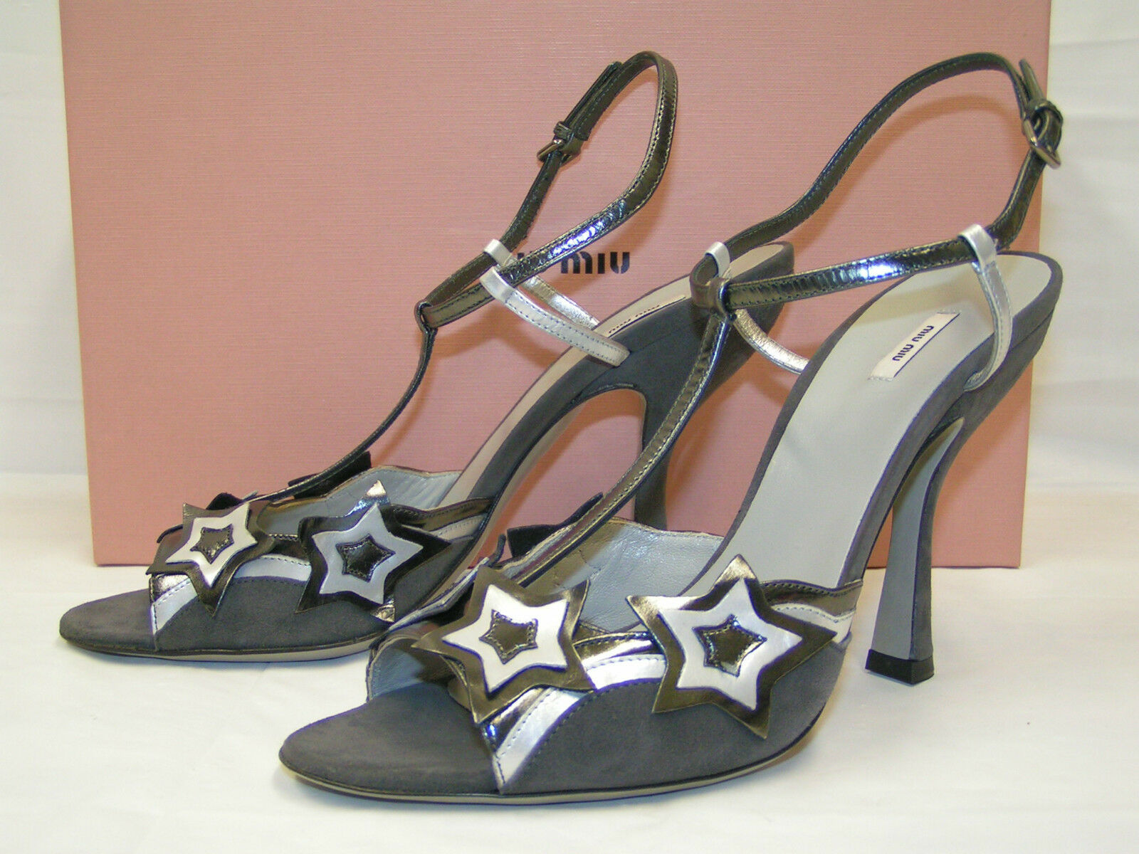 NIB MIU MIU PRADA LEATHER SUEDE MORNING STARS TWO TONE PUMPS SANDALS 39 8.5  495