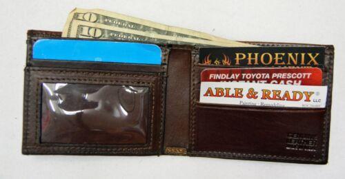 Mens Brown Leather Bi-Fold Wallet Slim Design Antique Billfold USA Made