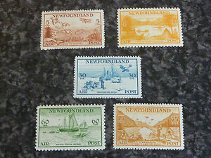 NEWFOUNDLAND-AIR-POSTAGE-STAMPS-SG230-234-LIGHTLY-MOUNTED-MINT