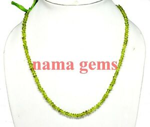 NATURAL PERIDOT GEMSTONE 4-5MM SMMOTH LOOSE BEADS 13 STRAND NECKLACE,
