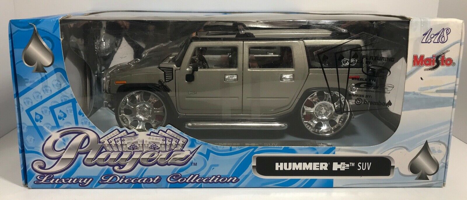 MAISTO PLAYERZ HUMMER H2 SUV GREY 1 18 SCALE DIE CAST  FREE SHIPPING