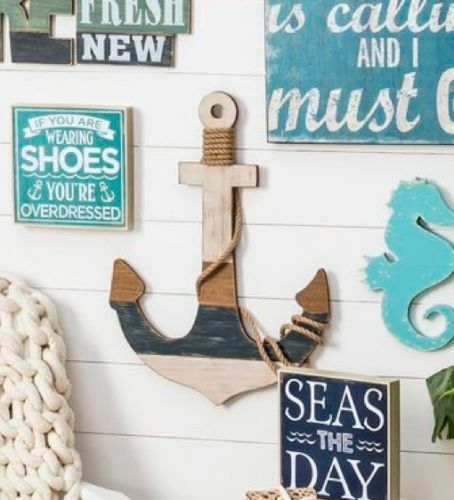 Large Wood Anchor Wall Decor Beach Lake House Nautical Decor New