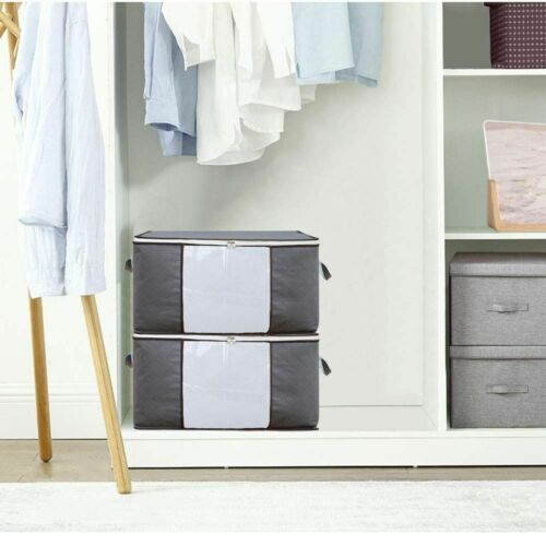 6Pcs Large Underbed Clothes Storage Bags Zipped Organizer Wardrobe Cube Boxes