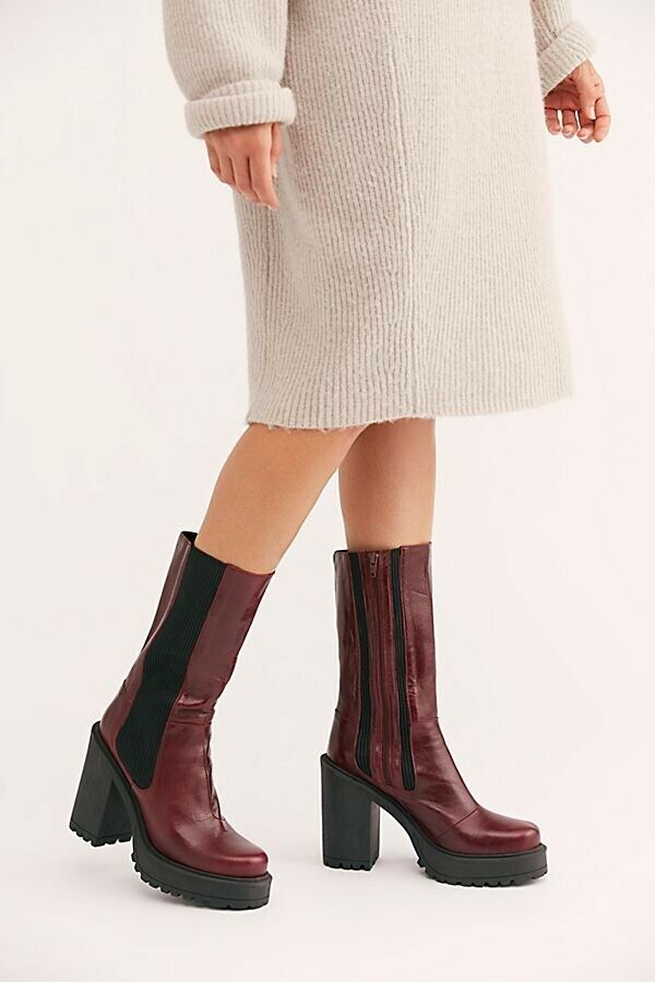 New Free People Tristan Chelsea Stiefel Wine Leather Größe 38  268