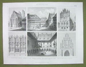 ARCHITECTURE-in-Poland-Cracow-Germany-Halberstadt-1870s-Engraving-Print
