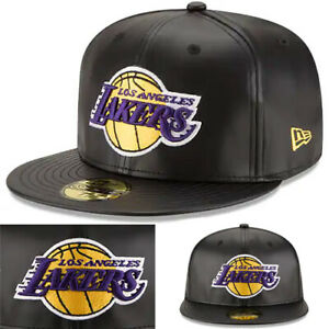 95416173 New Era NBA L.A Lakers 5950 Fitted Hat Black Faux Leather Game Team ...