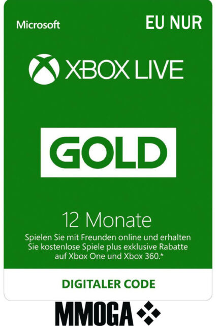 12 Monate Xbox Live Gold Mitgliedschaft Card - Xbox One & 360 Download Code - EU