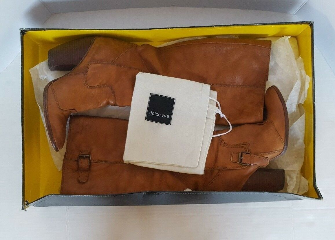 DOLCE VITA WOMEN'S KNEE HIGH LEATHER BOOTS COGNAC SIZE 7
