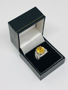 Vintage-Costume-Jewellery-Ring-Silver-Tone-Yellow-Glass-Cabochon-Size-N-Pretty