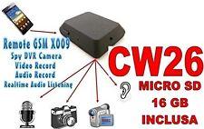 MICROSPIA GSM X009 SPIA AUDIO VIDEO INTERCETTAZIONE AMBIENTALE MICRO SD16GB CW26
