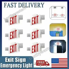 6pcs Red Led Exit Sign Emergency Light Output Compact Combo Ul Listed Letter