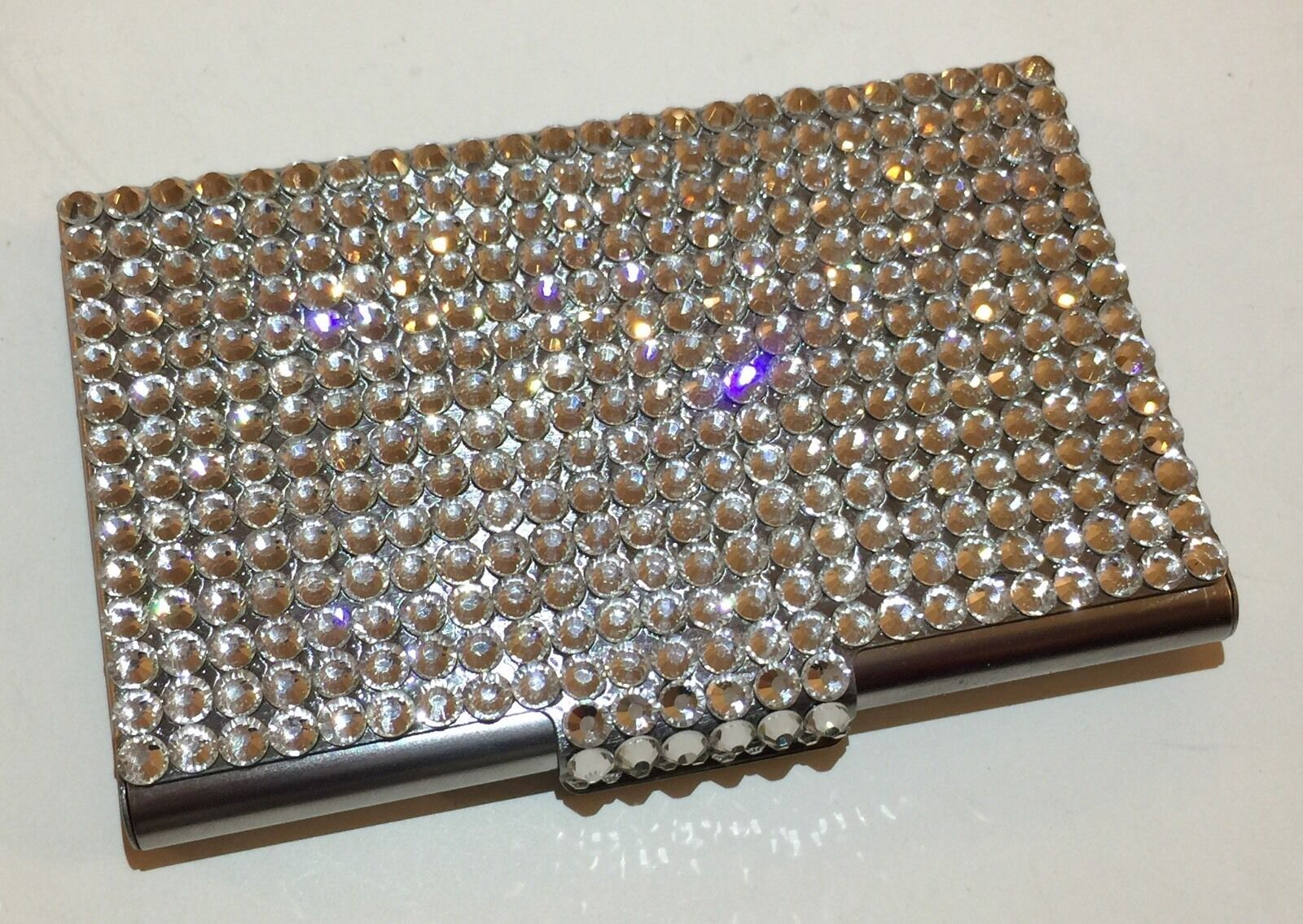 Silver Metal Crystal Business Card Case Holder with Swarovski ...
