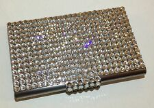Silver Metal Crystal Business Card Case Holder with Swarovski Crystals