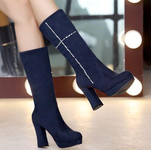 Womens Pull On Mid-Calf Boots Winter Velvet Slim Leg Shoes Block Heel Platform