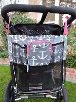 Nautical Anchor Baby Stroller Mesh Storage Organizer Wheelchair Stroll Bag 18x15