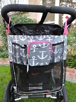 Nautical Anchor Baby Stroller Mesh Storage Organizer Wheelchair Stroll Bag 18x15