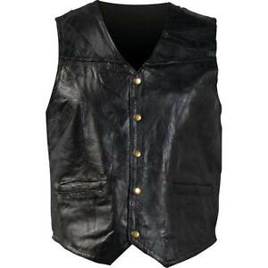 Mens-Genuine-Leather-Motorcycle-Vest-Black-New