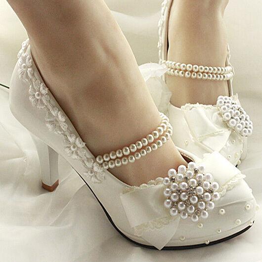 Royal Princess Handmade Pearl Ankel Chain Lace Flower Women Wedding Bridal Pumps