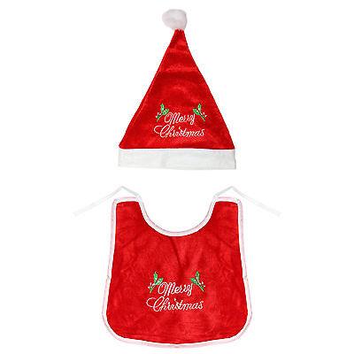 My First Xmas Baby Bib /& Red Santa Hat Novelty Gift Set Merry Christmas