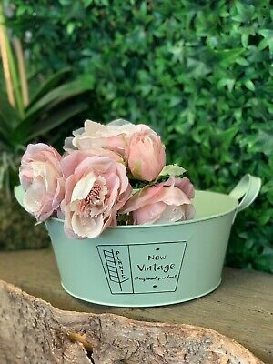 5X Garden Galvanised Zinc Metal Plant Flower Planter Pot Rustic Wedding 10cm