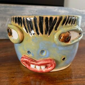 Original-Signed-Studio-Pottery-Art-Face-Ashtray-by-E-Kast-Vintage-Ugly-Face